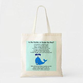 Baleine 1, dans le jardin ou sous la mer ? sac en toile budget