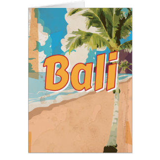 Bali Beach vintage travel poster Card