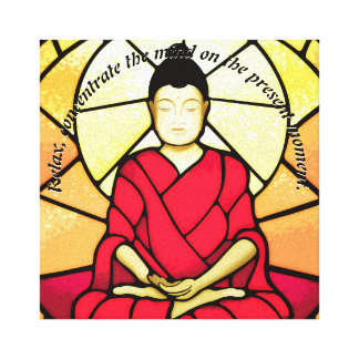 Bali buddha stain glass window canvas print
