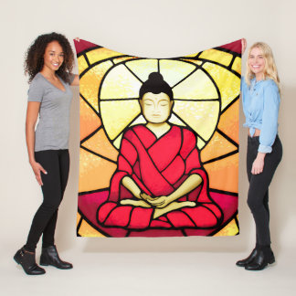 Bali buddha stain glass window fleece blanket