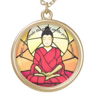Bali buddha stain glass window gold plated necklace