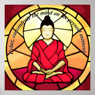 Bali buddha stain glass window poster