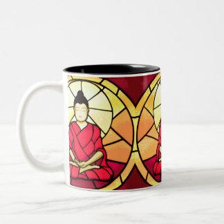 Bali buddha stain glass window Two-Tone coffee mug