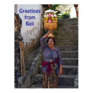 Bali Hindu Woman with Fruit Postcard