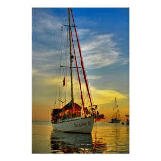 bali indonesia sailboat sunrise lovina beach poster