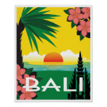 Bali Indonesia vintage travel style Poster