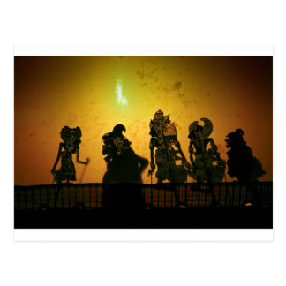 Bali shadow puppets postcard