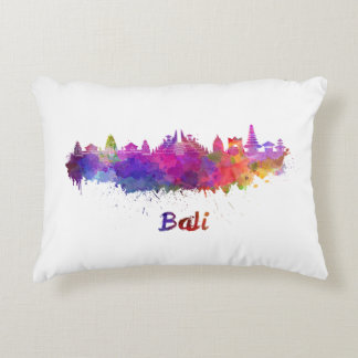 Bali skyline in watercolor accent pillow