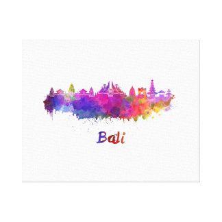 Bali skyline in watercolor canvas print