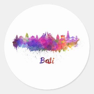 Bali skyline in watercolor classic round sticker