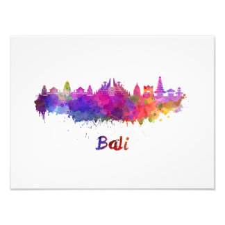 Bali skyline in watercolor photo print