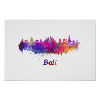 Bali skyline in watercolor poster