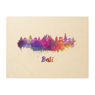 Bali skyline in watercolor wood print