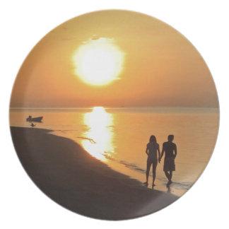 Bali sunrise on the beach plate