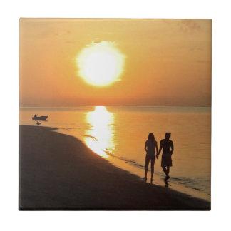 Bali sunrise on the beach tile