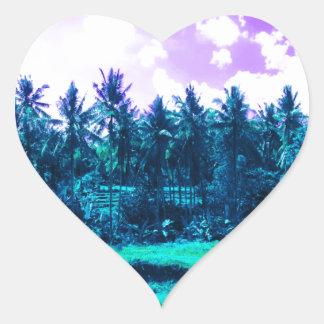Bali Tropical Forest Heart Sticker