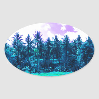 Bali Tropical Forest Oval Sticker