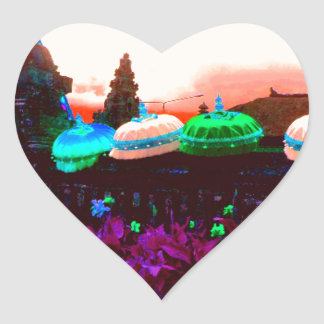 Bali Umbrella Colour Splash Heart Sticker