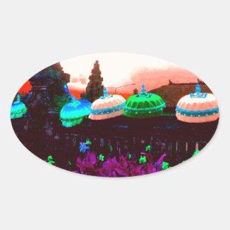 Bali Umbrella Colour Splash Oval Sticker