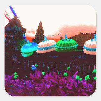 Bali Umbrella Colour Splash Square Sticker