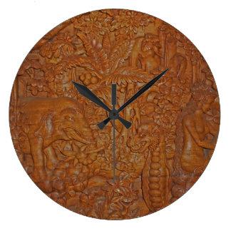 Bali Wood Carving Wall Clock