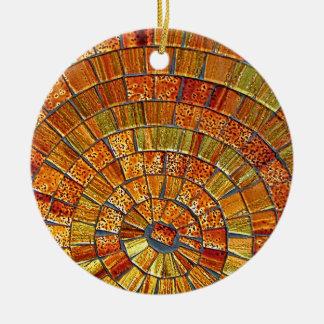 Balinese Glass Tile Art - Brown Round Ceramic Ornament
