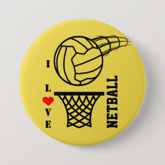 Ball And Net Design I Love Netball 3 Inch Round Button