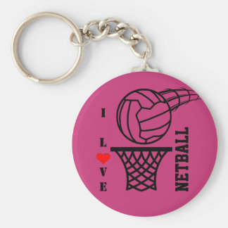 Ball And Net Design I Love Netball Keychain