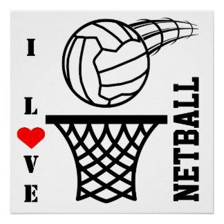 Ball And Net Design I Love Netball Poster