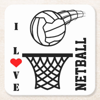 Ball And Net design I Love Netball Square Paper Coaster