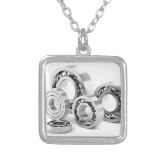 Ball bearings with different sizes silver plated necklace