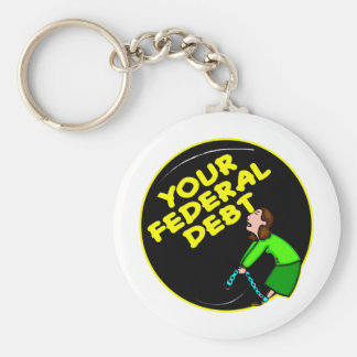Ball & Chain To Your Federal Debt Basic Round Button Keychain
