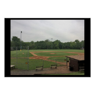 Ball Field with Benches Poster