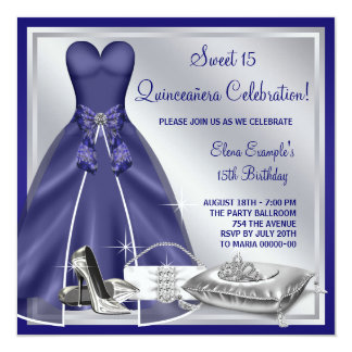 """Ball Gown High Heels Royal Blue Quinceanera 5.25"""" Square Invitation Card"""