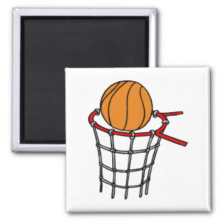 Ball in old metal basket square magnet