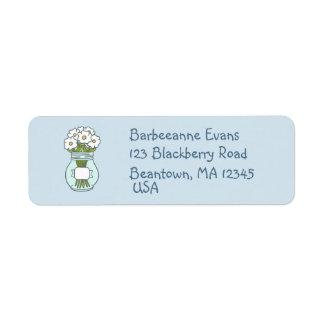 Ball Jar Flowers Return Address Label