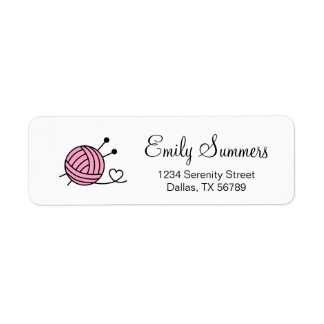 Ball of Knitting Yarn Craft - Custom Color Return Address Label