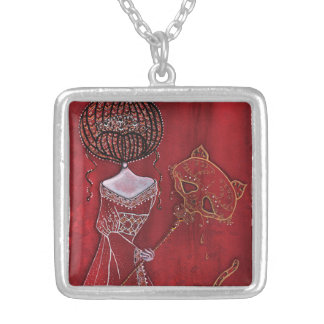 Ball of Masks Silver Plated Necklace