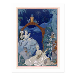 Ball Under the Blue Moon, illustration for 'Fetes Postcard