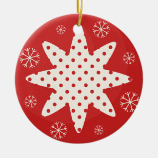 Ball with star round ceramic ornament