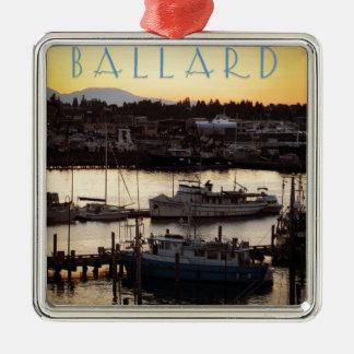 Ballard Boats Silver-Colored Square Ornament