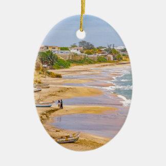 Ballenita Beach Santa Elena Ecuador Ceramic Oval Ornament