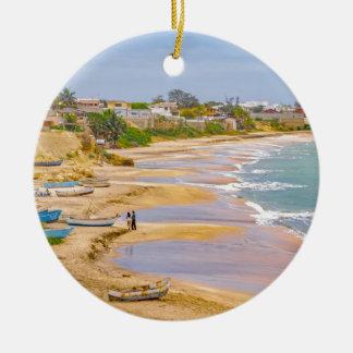 Ballenita Beach Santa Elena Ecuador Round Ceramic Ornament