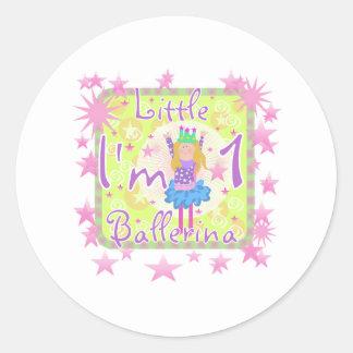Ballerina 1st Birthday Classic Round Sticker