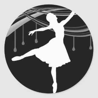 ballerina all wetonblack classic round sticker