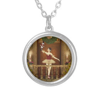 Ballerina and Nutcracker Round Pendant Necklace