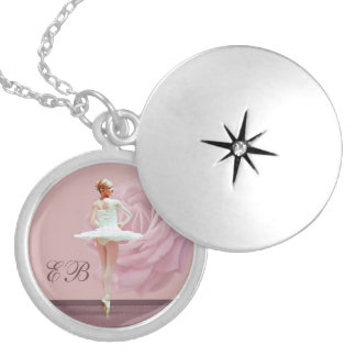 Ballerina  and Rose Customized Monogram Silver Plated Necklace