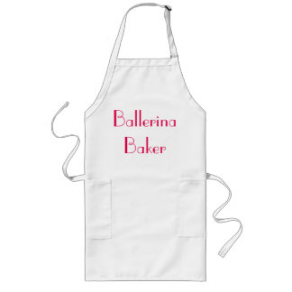 Ballerina Baker Quirky White & Pink Long Apron