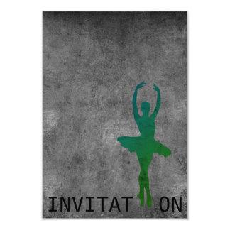 Ballerina Ball Dance Grungy Gray Wall Card