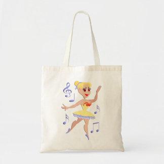 Ballerina Ballet Music Tote Bag